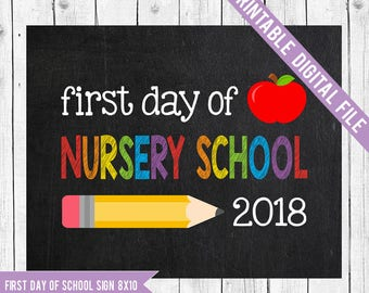 First day of Nursery School Sign, Back to school printable, School Printable Sign, First day of school, Nursery School, Starting school Sign