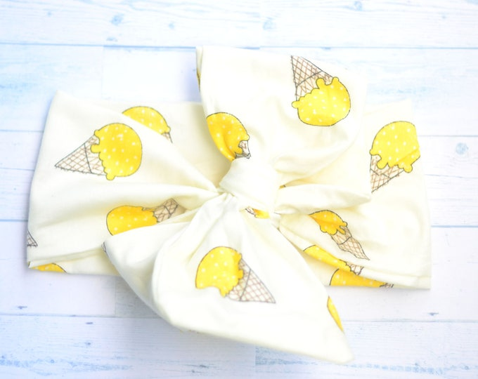big bow headband yellow headband ice cream headband headwrap baby girl turban headwrap girl head wraps photo prop newborn headband boho