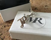 Sterling silver personalized cufflinks with 2 letters. Cufflinks with letters. Custom made cufflinks Handmade.