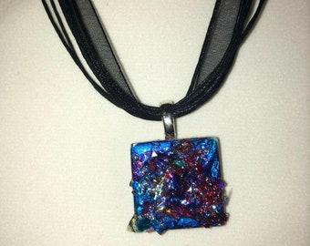 Blue Glitter Tile Pendant Necklace