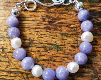 Lavender Aquamarine and Cultured Pearl Bracelet