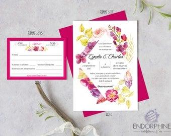 Floral printable wedding invitation. Invitation + RSVP card