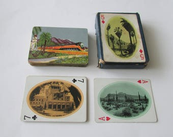Vintage Southern Pacific Lines Playing Cards Boxed Railroad Deck of Cards CA AZ NV Scenes
