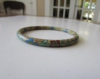 Vintage Porcelain Floral Bangle Bracelet