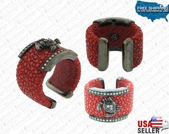 Stingray Crab Ring, Stingray Jewelry, Stingray Ring, Red Stingray Leather,Titanium Band,Charm Ring,Sting Ray Leather,Leather Ring,Crab Ring