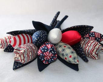 """Fabric """"USA Style"""" tulips - price per one. Plus FREE gift-surprise!"""