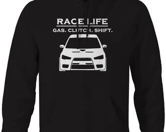 Race Life - Gas Clutch Shift - Racing Mitsubishi EVO Turbo JDM Hooded Sweatshirt- U321