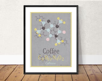 Chemistry molecule print Coffee print, Caffeine print, caffeine molecules, science print, periodic table print, Wall decor.Atoms, chemistry