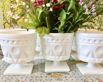 Milk Glass Vase Milk Glass Bowl Wedding Centerpiece Vases for Wedding Flower Vase White Vase Milk Glass Candy Dish Candy Bowl Planter Each