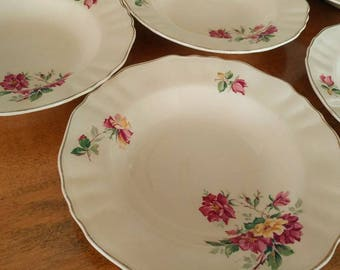 Pretty set of 4 Cream and Pink Floral China Bowls by J&G Meakin of England