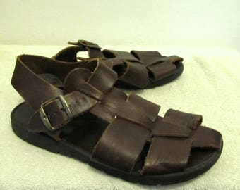 Womens Vintage 80's Brown FISHERMAN Style Sandals w/Thick Rubber THREAD.7