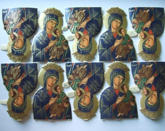 Vintage Religious Die Cut Paper Scraps Blessed Virgin Mary MP Mamalok Press Sheet of 10