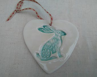Hanging Porcelain Heart with a Hare