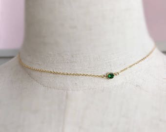 14k gold filled choker necklace-4mm emerald CZ pendant-minimal layered dainty everyday simply