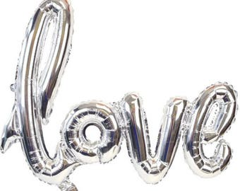 Silver Love Balloon - Bridal Shower Balloon - Wedding Balloon Decorations