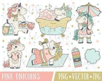 Kawaii Planner Unicorn Clipart Set, Digital Unicorn Stickers, Premium Unicorn Vector Clipart Images, Commercial Use, Fitness Clipart