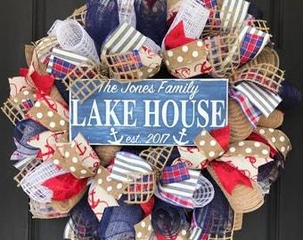 Personalized lake house wreath - nautical decor - custom lake house wreath - housewarming gift - summer wreath - personalized lake house