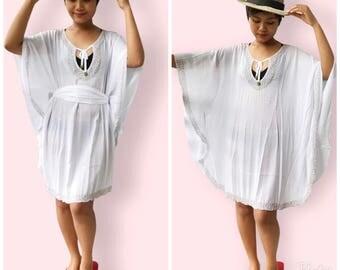 White beaded beach dress, BW06 white, beach dress,  holiday, maternity wear, lounge wear, poolside party wear, party dress, fun dress