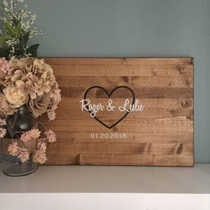 Rustic Wedding Guest Book Alternative / Painted Heart Guest Book ...
