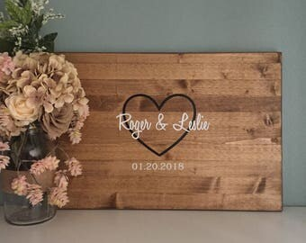 Rustic Wedding Guest Book Alternative / Open Heart Wedding Guest Book / Wood Wedding Guest Book Rustic Country Wedding Decor Guest Sign In