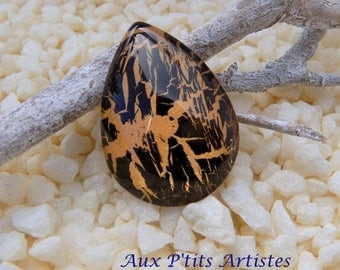 cabochon glass 18 x 25 mm hand painted