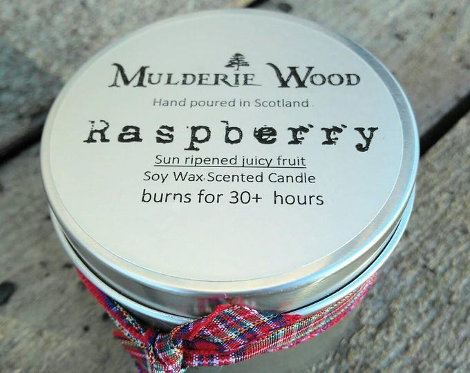 Handmade Scottish Raspberry Scented Soy Wax Tin Candle 30+ hour burn