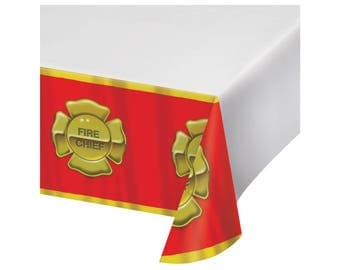 Firefighter Tablecloth - Fireman Birthday - Firetruck Party - Firefighter Party - Firetruck Birthday - Firefighter Birthday Fire Department
