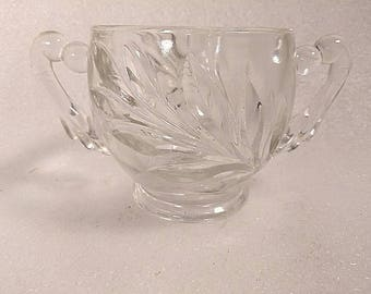 Vintage Clear Pressed Glass Sugar Bowl