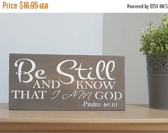 Farmhouse Scripture Sign - Christian Wall Art - Be Still And Know - Farmhouse Scripture Signs - Christian Home Decor - Farmhouse Sign