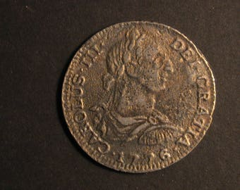 1776 8 REALES CHARLES III Spain Silver Coin Metallic Copy