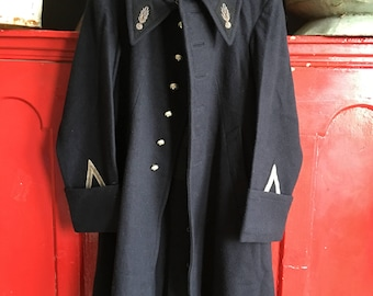 French antique navy blue wool military coat size S