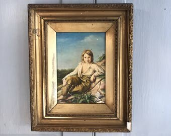 Antique 19th Century portrait oil painting of a boy fishing