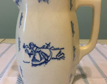 SALE FREE SHIPPING on Antique Spongeware Pitcher.