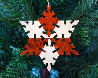 Wood Snowflake Ornament - Christmas Ornaments Handmade - Wood Christmas Ornaments -  Wood Star Ornaments - Rustic Wooden Ornaments