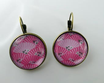"""Earrings """"range rose"""" pattern glass cabochon and bronze"""
