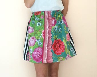 Floral skirt women, cotton summer skirt, elastic waist skirt