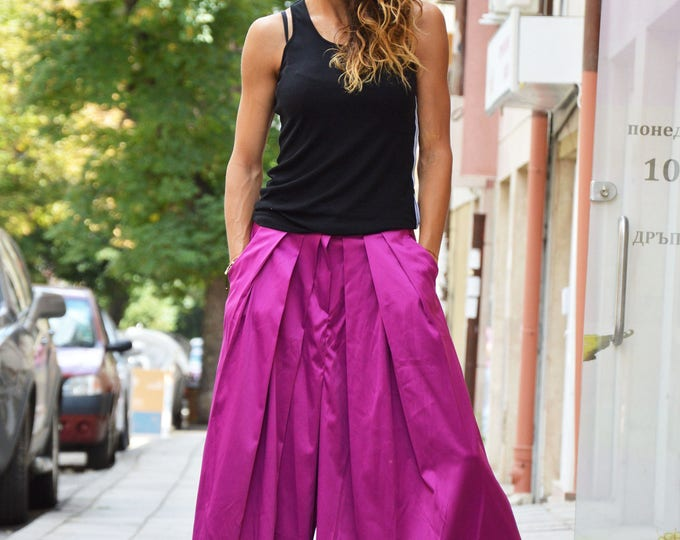 Extravagant Purple Trousers, Wide Leg Pants, Loose Elegant Pants, Drop Crotch Casual  Pants by SSDfashion