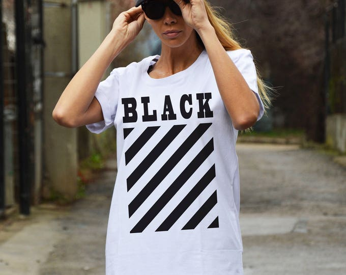 New Casual White Cotton Print T-shirt, Short Sleeve Oversize Shirt, Hand Screen Plus Size Top by SSDfashion