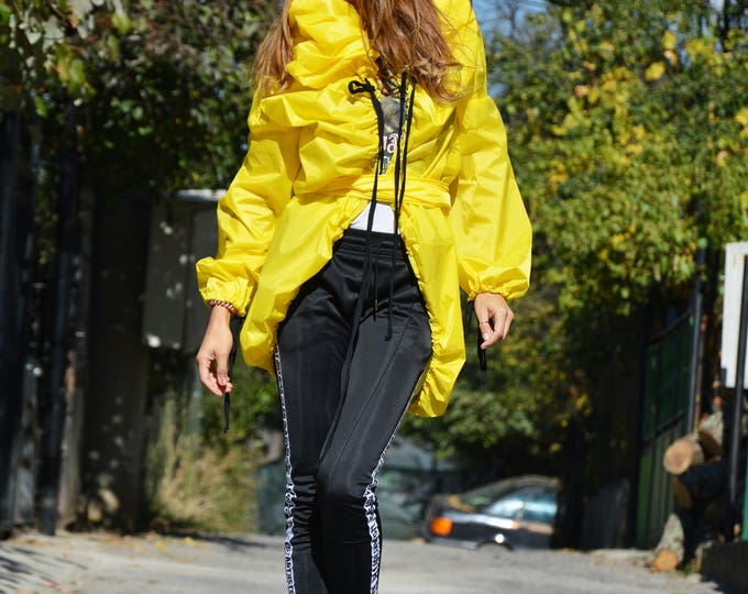 Extravagant Yellow Maxi Raincoat, Asymmetric Plus Size Trench, Oversize Jacket with Belt by SSDfashion