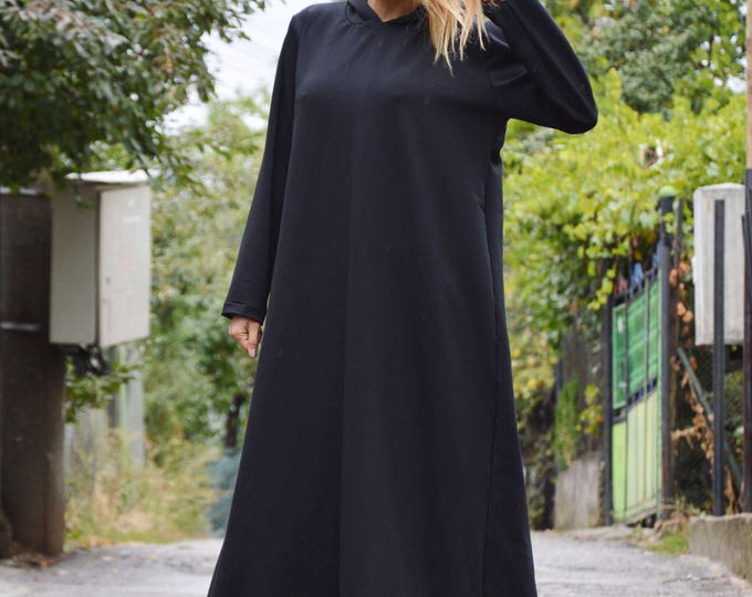 Black Maxi Hooded Dress, Plus Size Loose Kaftan, Oversized Casual Dress with Hood, Hooded Extravagant by SSDfashion