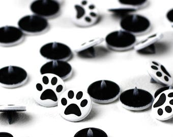 Paw Two-Toned Engraved Gloss KAM Snaps Size 20 - Plastic Snaps, Kam Snaps, Snaps for Clothing, Engraved KAM Snaps, Snaps for Fabric