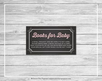 Chalkboard Baby Shower Book Instead of Card Insert - Printable Baby Shower Books for Baby - Pink Chalkboard Baby Shower - Book Cards - SP155
