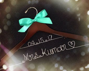Grand Opening !! 2 line Wedding hanger with date, Personalized Bridal Hanger,Customized Hanger,wedding shower gifts,Bridemaids hanger