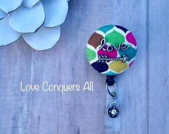 Love Conquers All -Nurse Retractable ID Badge Reel/ RN Badge Holder/Doctor Badge Reel/Nurse Badge Holder/Student Nurse badge reel/ nursing g