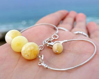 Baltic Amber Butterscotch Bracelet, Sterling Silver Chain Adjustable Bracelet With Baltic Amber Ball Beads, Amber Jewelry