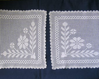 Pair white hand- crocheted mats/placematswith flower motifs.circa 1920,s