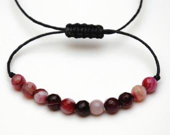 Burgundy Agate bracelet Gemstone bracelet Agate stone Wax Cord bracelet Healing bracelet Healing stones string bracelet womens gift for wife