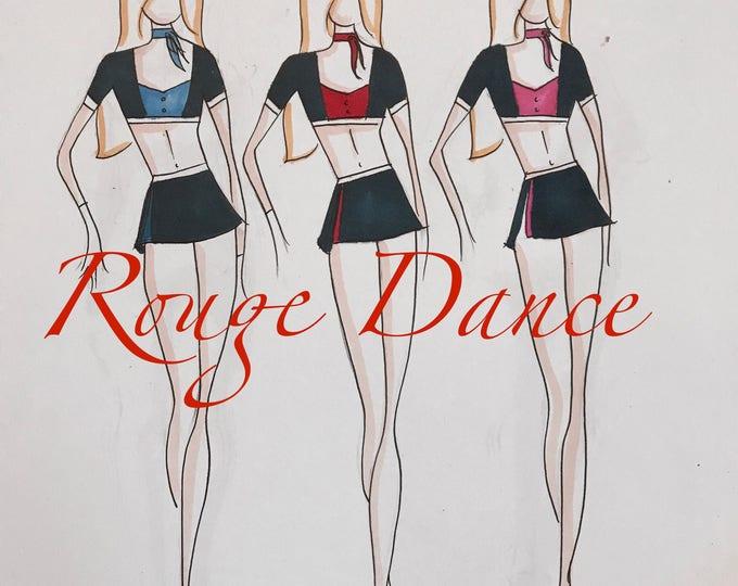 team dance costume, group dance costume, jazz dance costume, contemporary dance costume, custom women's dance costume, cabaret dance costume