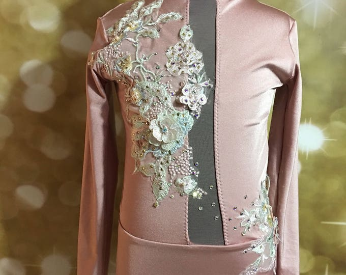 Lyrical dance costume, quick ship costume, plain costume, plain leotard with mesh and milliskin shiny or matte spandex