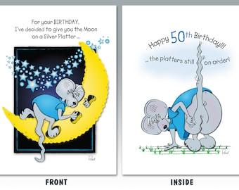 12 Silver Platter     50th Birthday Card